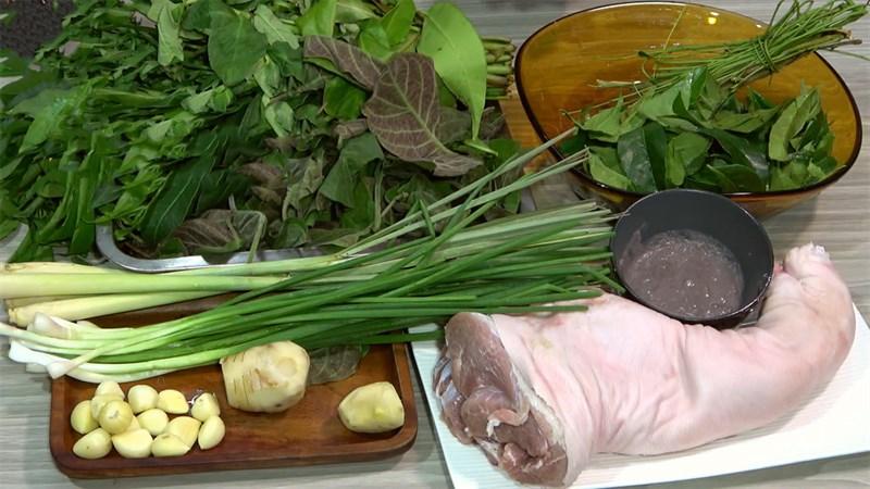 Nguyên liệu món ăn giò heo nướng lá mắc mật
