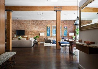 Cảm hứng thiết kế nội thất căn hộ với tường gạch thô mộc