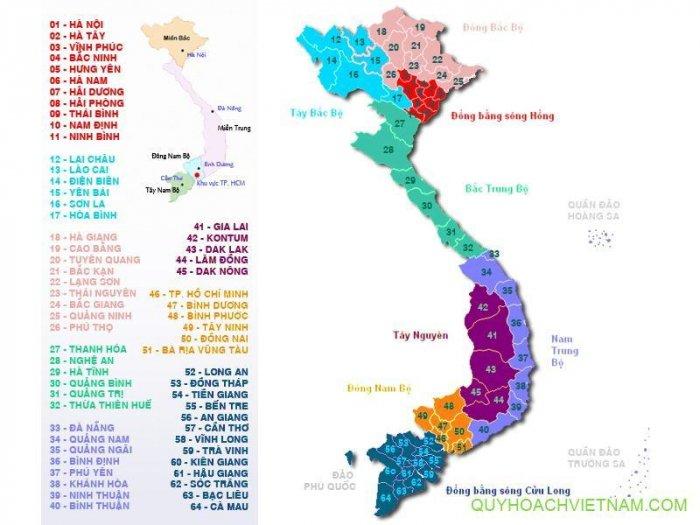 Danh sách 64 tỉnh thành Việt Nam và biển số xe, đầu số điện thoại các tỉnh
